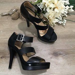 Michael Kors Black Leather Platform Heels